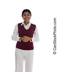 indianas, negócio casual, mulher, em, um, suéter