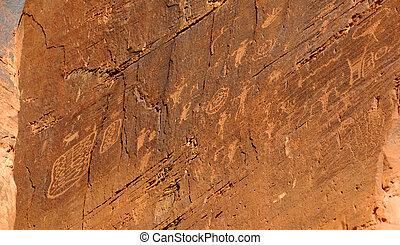 indianas, petroglyphs, perto, moab
