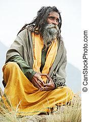 indianas, sadhu, monge