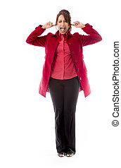 indianas, shouting, mulher, jovem, frustração