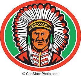 indianer, oberhaupt, kopfschmuck, gebürtig
