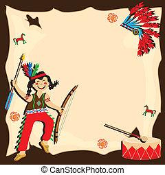 indianer, party, einladung