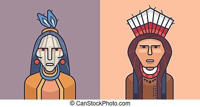 indiani americani, illustrazione, rosso