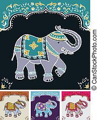 indianin, świąteczny, typowy, słoń