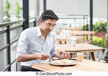 indianin, biznesmen, jedzenie jadło