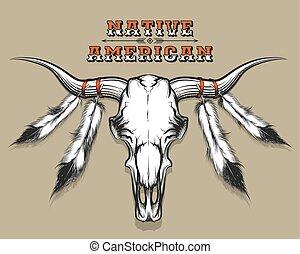 indianin, czaszka, byk