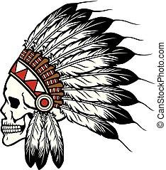 indianin, czaszka, szef, ilustracja, amerykanka, wektor, krajowiec