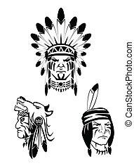 indianin, komplet, człowiek