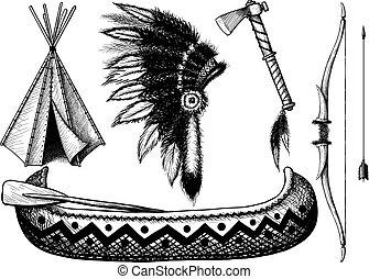 indianin, komplet, ikona