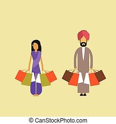 indianin, para, obsadzać kobietę, utrzymywać, shopping torby