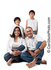indianin, rodzina, szczęśliwy