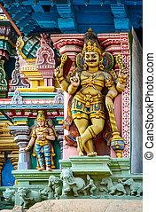 indianin, szczegół, meenakshi, świątynia