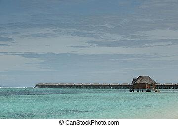 indianin, to, ocean polewają, bungalow, wille, morze