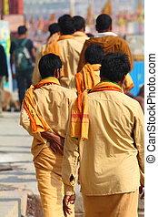 indianin, varanasi, mężczyźni, uttar, india., pradesh