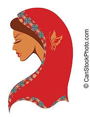 indianin, wektor, kobieta, ilustracja