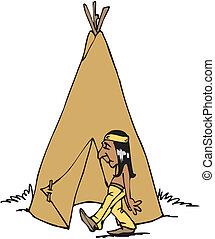 indiano americano, nativo, capo, mascotte