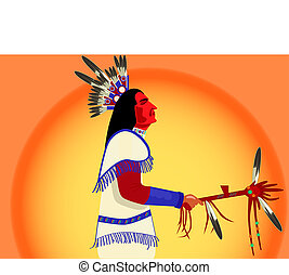 indiano americano, uomo, con, uno, tamburo