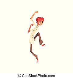 indiano, ballo, giovane, illustrazione, tradizionale, vettore, fondo, bianco, vestiti, uomo