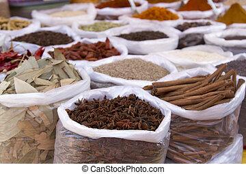 indiano, bazar, goa, spezia, mercato, anjuna