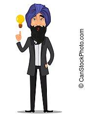 indiano, carattere, cartone animato, uomo affari