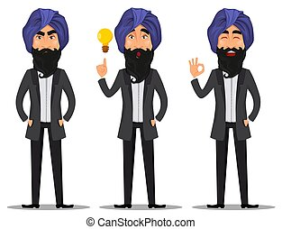 indiano, cartone animato, set, uomo, affari
