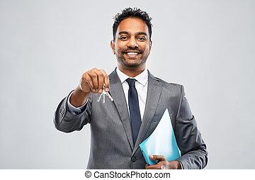 indiano, chiave, uomo, agente immobiliare, cartella