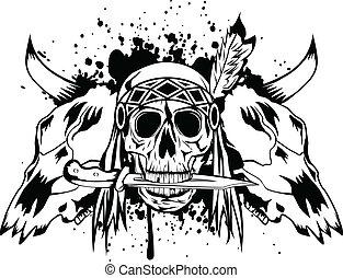 indiano, crani, cranio, toro