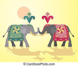 indiano, disegno, elefante