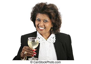 indiano, donna, -, vino bianco
