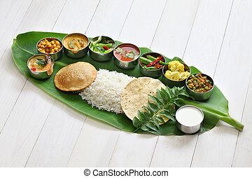 indiano, foglia, banana, sud, pasti
