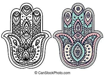 indiano, hamsa, mano, vettore, ornamenti, disegnato