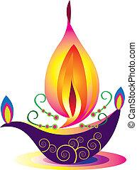 indiano, lampada, olio