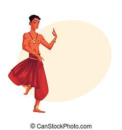 indiano, maschio, ballerino, in, tradizionale, pantaloni harem, bollywood, esecutore