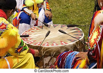indiano, pow wow, tamburo