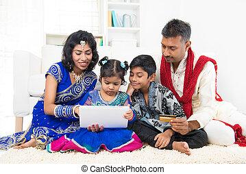 indiano, shopping, famiglia, linea