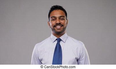 indiano, uomo affari, in, camicia, con, cravatta, sopra,...