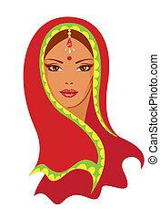 indiano, vettore, donna, illustrazione
