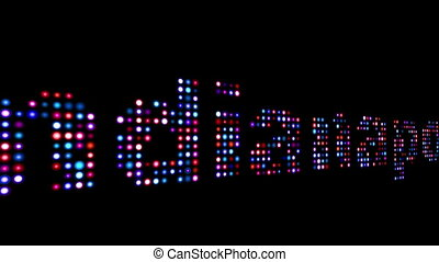 Indianopolis colorful led text over black