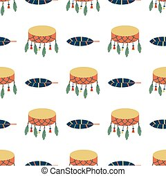 Indians dream catcher drum temple ornament seamless pattern element retro vintage hinduism ethnic tools vector illustratio