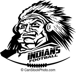 indians football - heroic indians football mascot team...