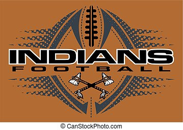 indians football team design with crossed tomahawks and ball...
