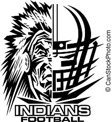 indians football team design with facemask and mascot for...