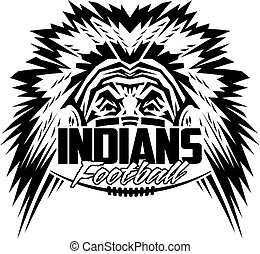 indians football team design with mascot and laces for...