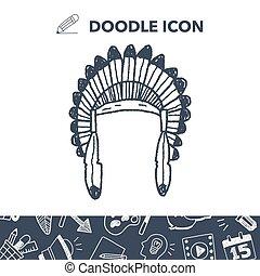 Indians hat doodle