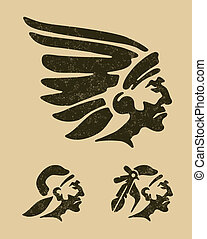Indians head - Vector file includes 3 layers: 1-background 2...