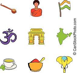 Indians icons set, cartoon style
