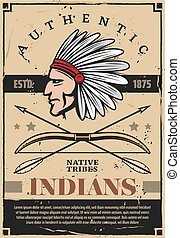 Indians, native americans tribe chief in headdress