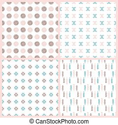 INDIANS SET American Native Culture Ethnic Seamless Pattern