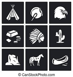 Indians Wild West icons set. - Flat Icons collection on a...