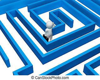 indica, decisão, confundido, fazendo, fazer, labirinto, adversidade, 3d